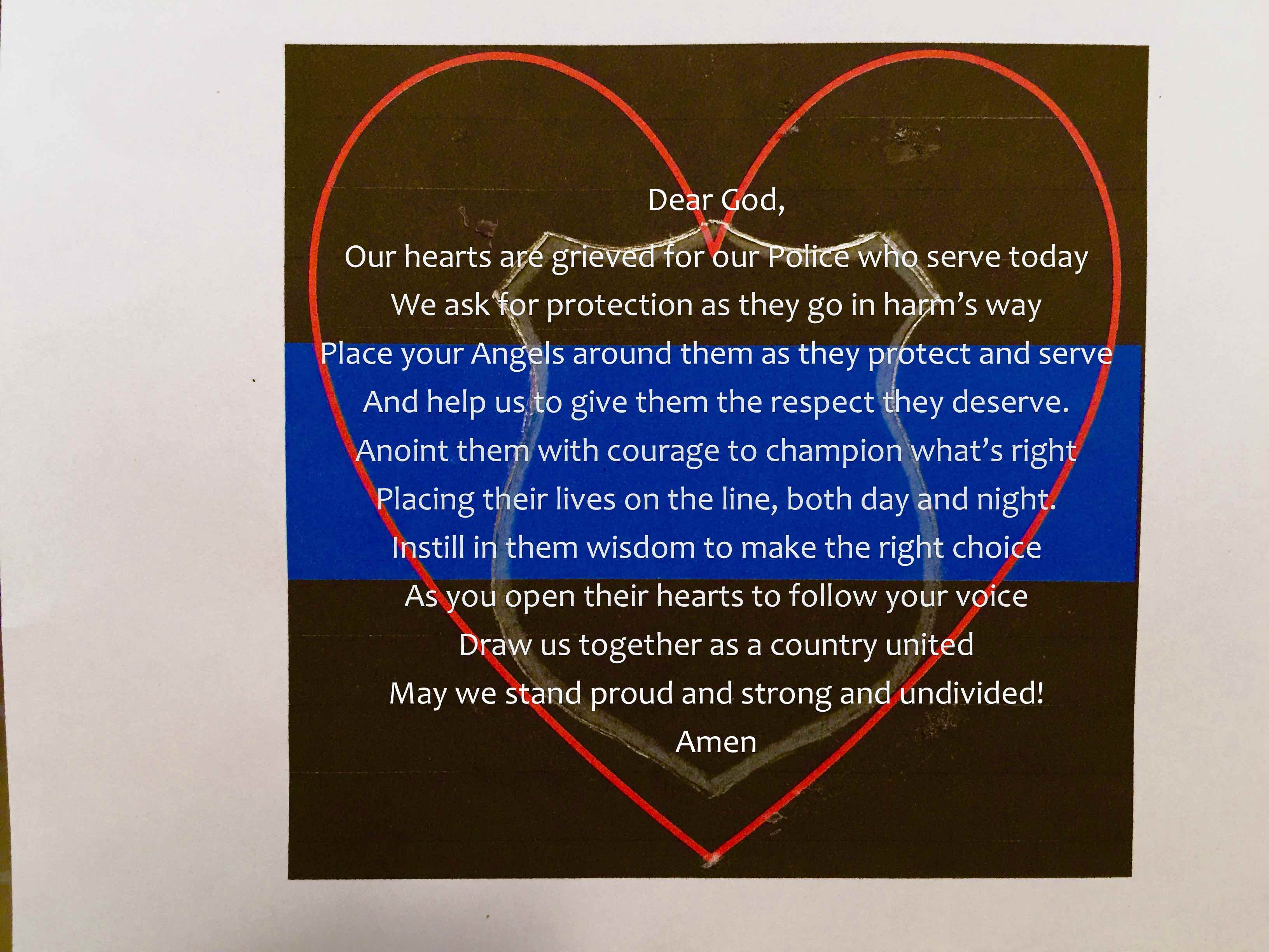 A Prayer for our Police Who Protect and Serve
